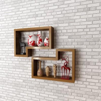 eCraftIndia Set of 2 Retro L Shape Block Multiutility Wooden Wall Shelf