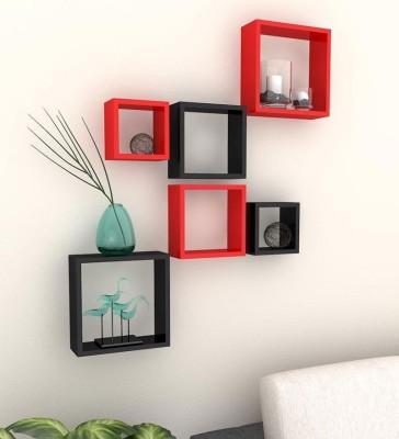 ENCORE DECOR MDF Wall Shelf(Number of Shelves - 6, Red, Black)