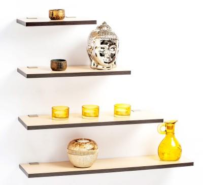 Bluewud MDF, Brass Wall Shelf