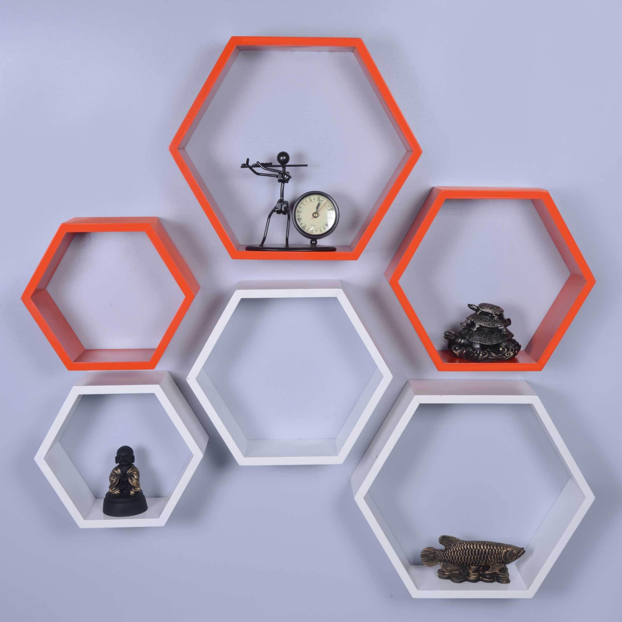 View Dcjc Dcjc Hexagon Shelf Orange/White - Set Of 6 MDF Wall Shelf(Number of Shelves - 6, Multicolor) Furniture (Dcjc)