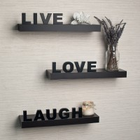Home Sparkle Live Love Laugh Wooden Wall Shelf(Number of Shelves - 3, Black)