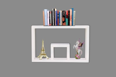 Furniselan Nesting Square White MDF Wall Shelf