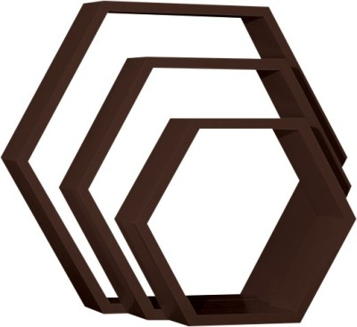 Custom Decor Hexagon Wooden Wall Shelf(Number of Shelves - 3, Brown)