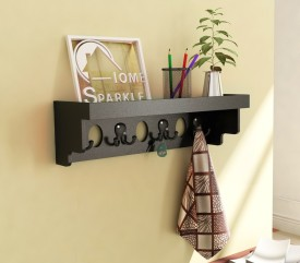 Home Sparkle Longish Shelf W/Hooks Wooden Wall Shelf(Number of Shelves - 1, Black)