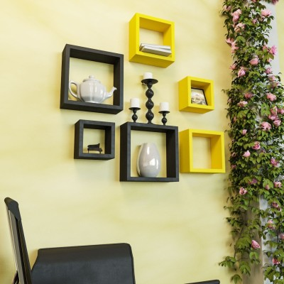 DecorNation Nesting Square Shape MDF Wall Shelf