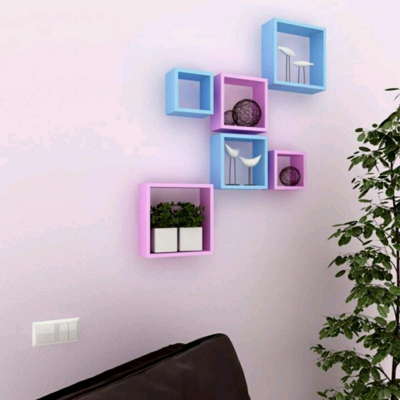 View OnlinePurchas Square Shape MDF Wall Shelf(Number of Shelves - 6, Pink, Blue) Furniture (OnlinePurchas)
