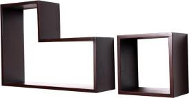 Kohinoor Wooden Wall Shelf(Number of Shelves - 2, Brown)