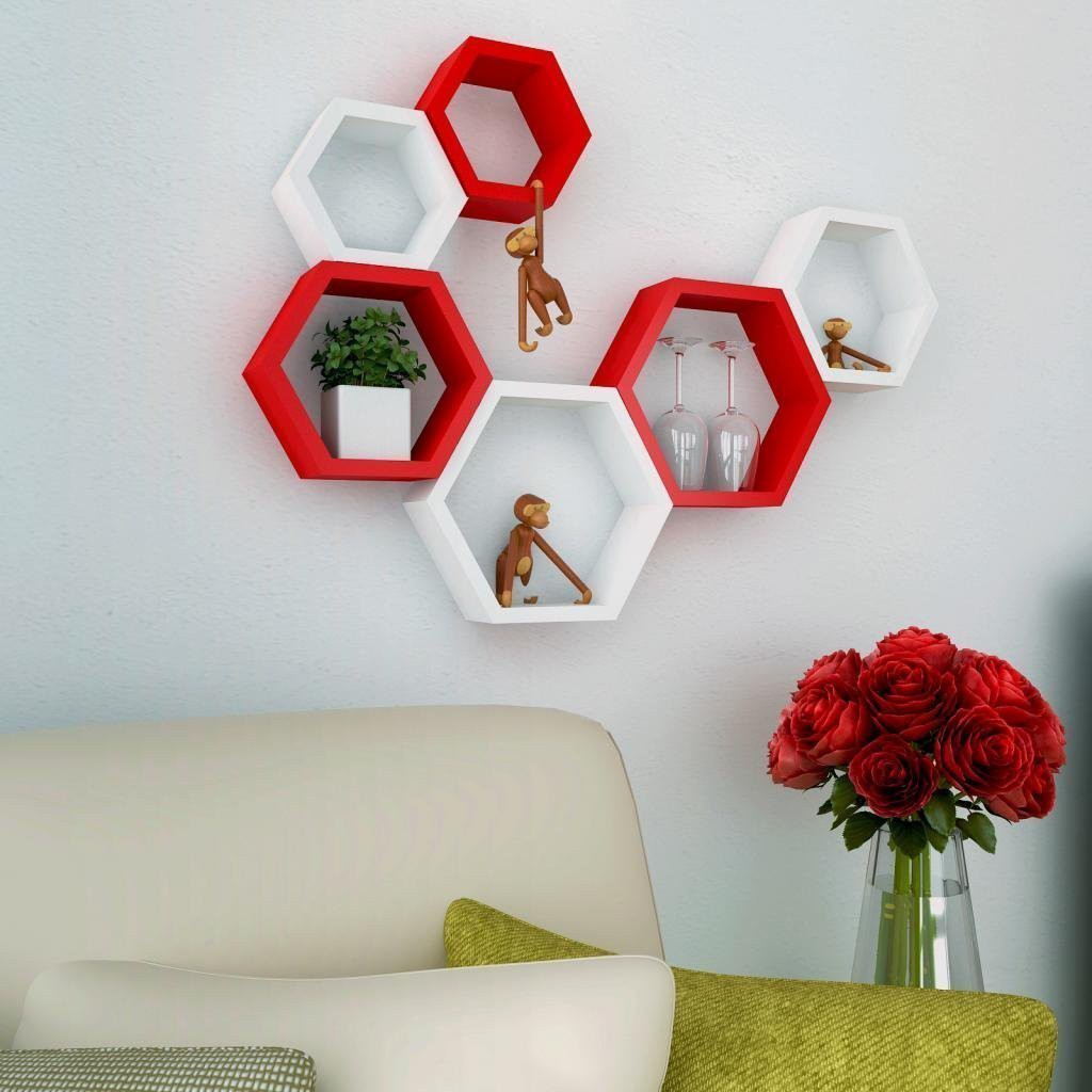 View DecorationShop MDF Wall Shelf(Number of Shelves - 6, White, Red) Furniture (DecorationShop)