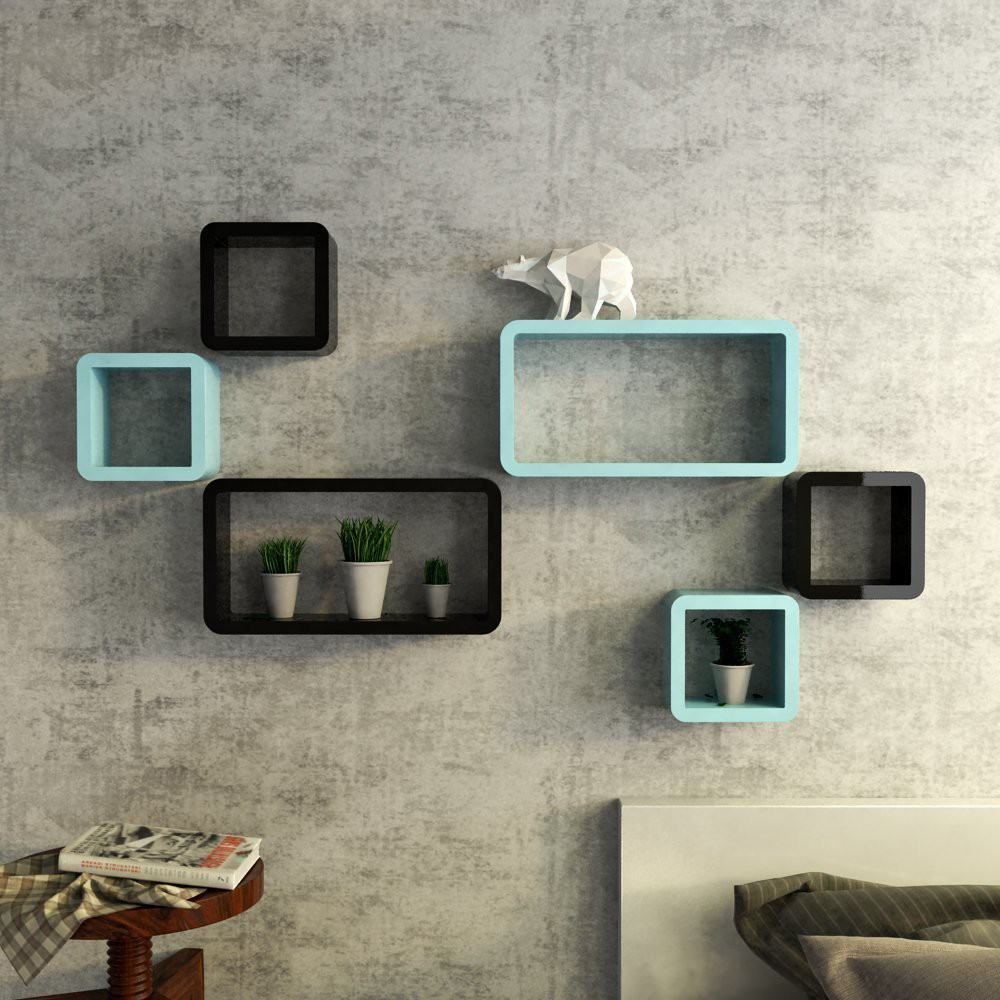 View Choice Cloud Wooden Wall Shelf(Number of Shelves - 6, Black) Furniture (Choice Cloud)
