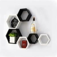 Onlineshoppee Afr992 Wooden Wall Shelf(Number of Shelves - 6, White, Black)