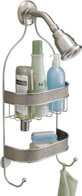 Interdesign Twillo Bathroom Shower Caddy for Shampoo, Conditioner, Soap - Silver Steel Wall Shelf