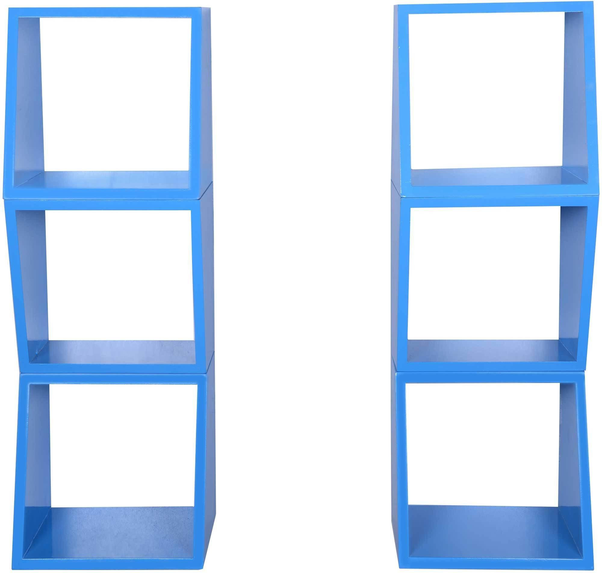 View Dcjc Dcjc Multipurpose Square Shelf Blue - Set Of 6 MDF Wall Shelf(Number of Shelves - 6, Blue) Furniture (Dcjc)