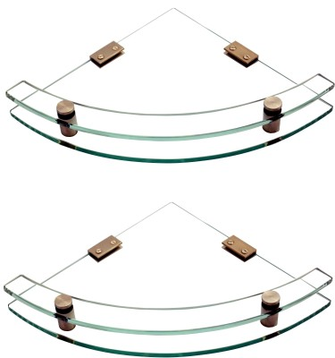 SDG Glass, Brass Wall Shelf