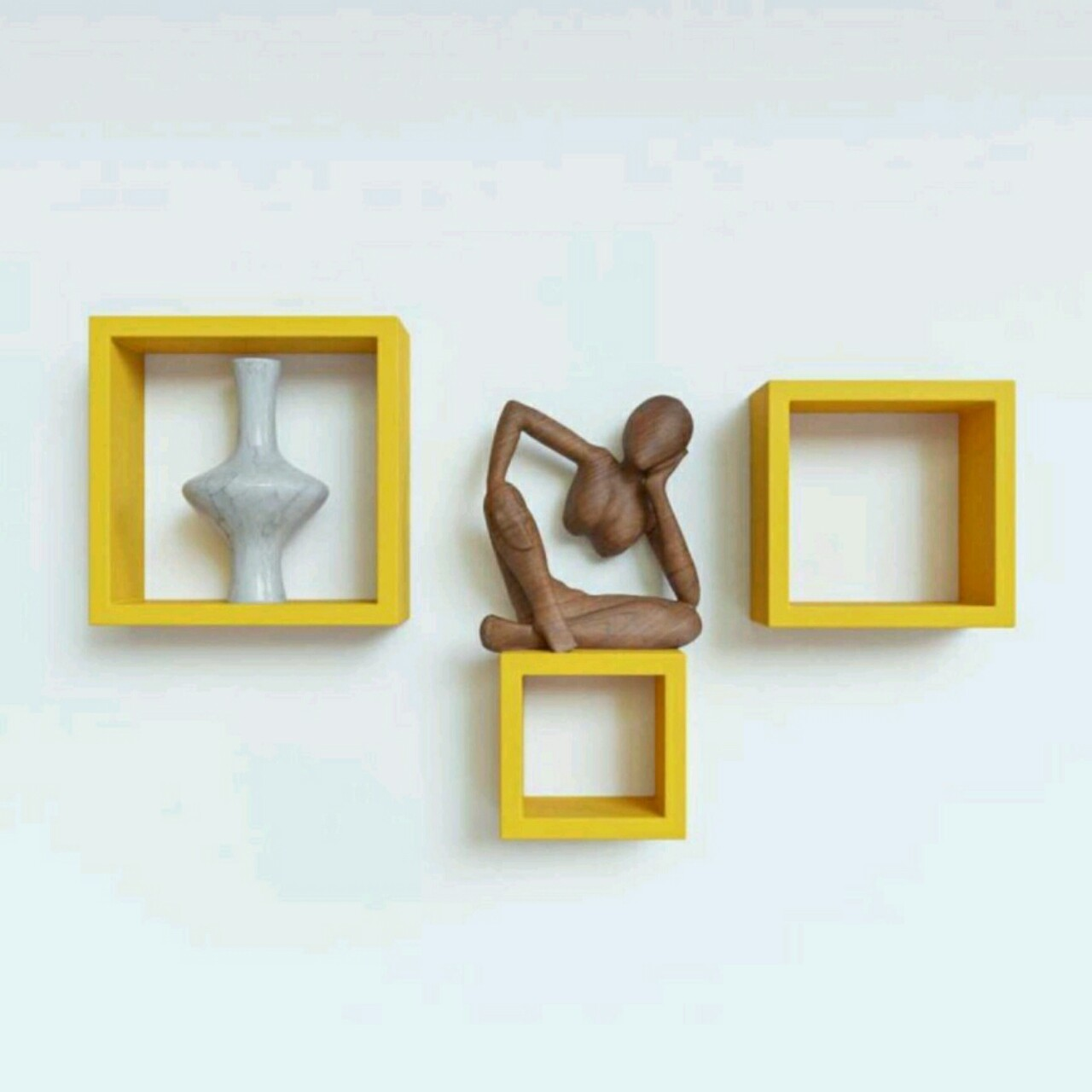 View OnlinePurchas Cube Shape Wooden Wall Shelf(Number of Shelves - 3, Yellow) Furniture (OnlinePurchas)