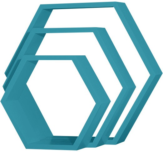 View Custom Decor Hexagon Wooden Wall Shelf(Number of Shelves - 3, Blue) Furniture (Custom Decor)