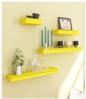 Onlineshoppee AFR1637-sd Wooden Wall Shelf(Number of Shelves - 4, Yellow)