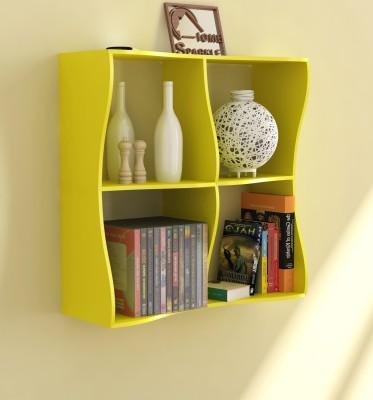 Home Sparkle Wave Design Wooden Wall Shelf