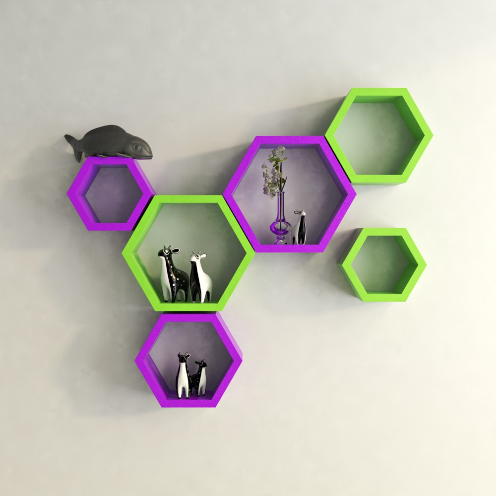 View DecorNation Hexagon Shape MDF Wall Shelf(Number of Shelves - 6, Purple, Green) Furniture (DecorNation)
