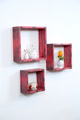 Importwala Distressed Finish wall Shelves- Red and Black MDF Wall Shelf