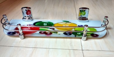 royaL indian craft Delicious Fruits Printed Glass Wall Shelf