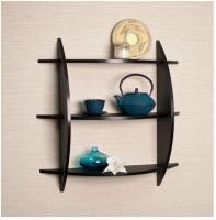 Onlineshoppee Wooden Wall Shelf(Number of Shelves - 3, Black)