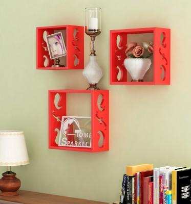 Home Sparkle 3 Cube Shelves Wooden Wall Shelf