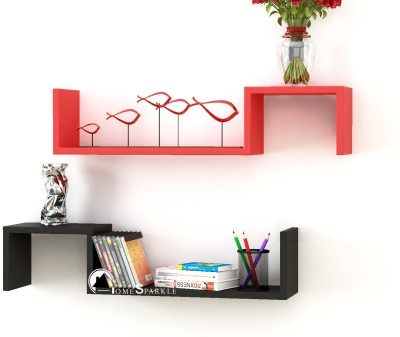 Home Sparkle Set of 2 Inverse Wall Shelves Wooden Wall Shelf