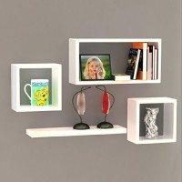 Decorhand Wooden Wall Shelf(Number of Shelves - 4, White)