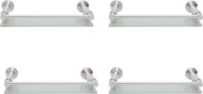 Dolphy Set Of 4 Bathroom Front Toughened Glass, Aluminium Wall Shelf