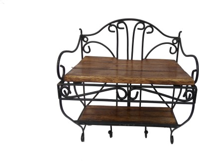 HANDICRAFT ATTRACTIVE DESIGN SETUPBOX STAND WITH REMOTE STAND IN IT Wooden, Iron Wall Shelf