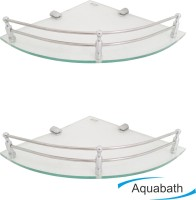 Aquabath DP CORNER PACK OF 2 12X12 With Brass Material Brass, Glass Wall Shelf(Number of Shelves - 2, Clear)