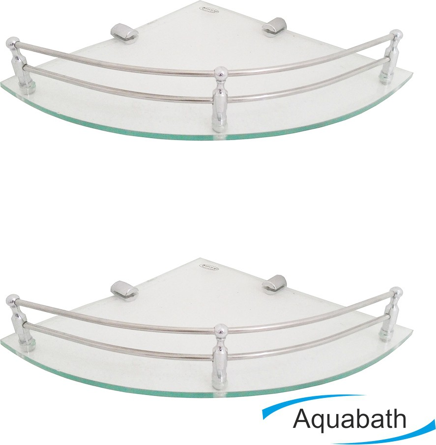 View Aquabath DP CORNER PACK OF 2 8X8 With Brass Material Brass, Glass Wall Shelf(Number of Shelves - 2, Clear) Furniture (Aquabath)