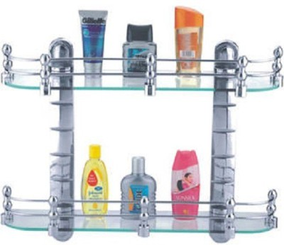DEVICE IN LION CIPLA PLAST BATHROOM GLASS SHELVES SET Steel Wall Shelf