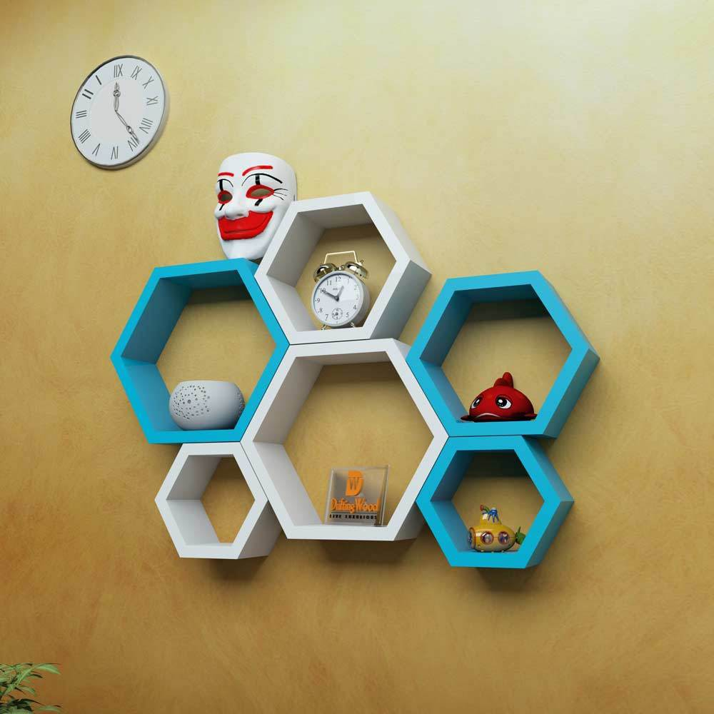 View DriftingWood Hexagon Shape Wooden Wall Shelf(Number of Shelves - 6, Blue) Furniture (DriftingWood)