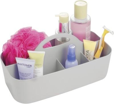 Interdesign Clarity Bath Tote for Shampoo, Conditioner, Beauty Products, Cosmetics - Small, Light Gray Plastic Wall Shelf