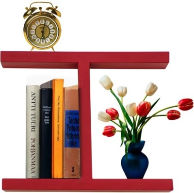 Furniselan Red in H Shape MDF Wall Shelf