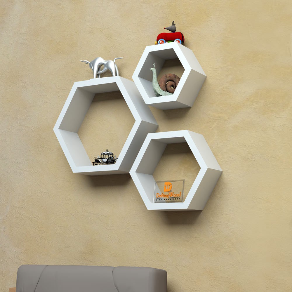 View DriftingWood Hexagon Wooden Wall Shelf(Number of Shelves - 3, White) Furniture (DriftingWood)