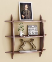 Home Sparkle Three Tier Wooden Wall Shelf(Number of Shelves - 3, Brown)