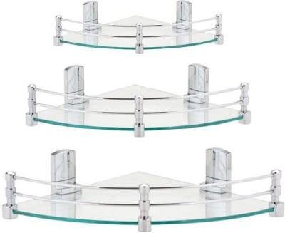 royaL indian craft Multi -Purpose Pack Of 3 Glass Wall Shelf