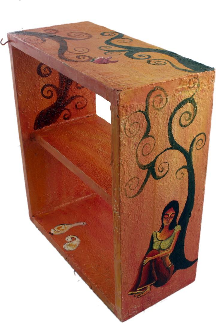 View Atariya Atariya Handmade Self Painted Shelf Acrylic Colors on Wood Wooden Wall Shelf(Number of Shelves - 1, Multicolor) Furniture (Atariya)