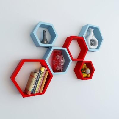 Ganeshaas Gphxd022rsb Red N Sky Blue Beehive Hexagon Floating MDF Wall Shelf