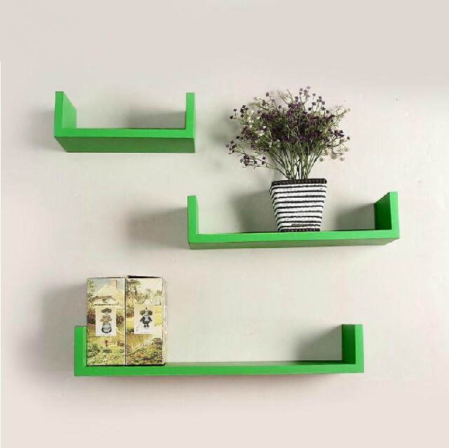 View Ganeshaas GHWS016 U Shaped Green MDF Wall Shelf(Number of Shelves - 3, Green) Furniture (Ganeshaas)