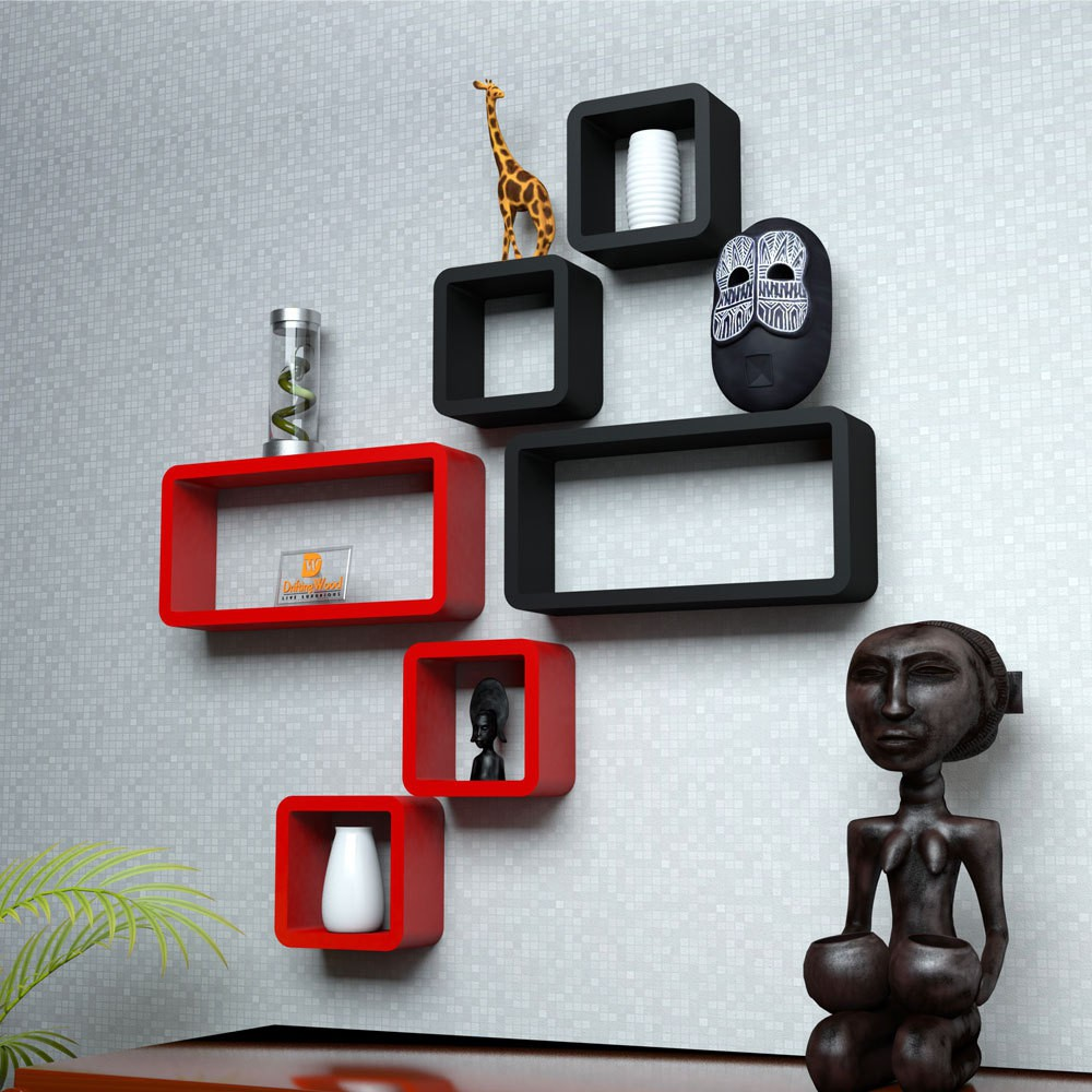 View DriftingWood Cube Rectangle Wooden Wall Shelf(Number of Shelves - 6, Red, Black) Furniture (DriftingWood)