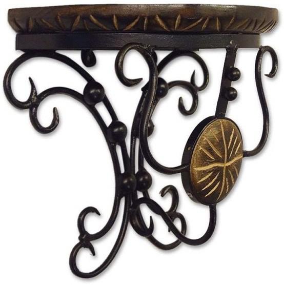 View TimberKart D-Shape Antique Type Wooden, Iron Wall Shelf(Number of Shelves - 1, Brown) Furniture (TimberKart)