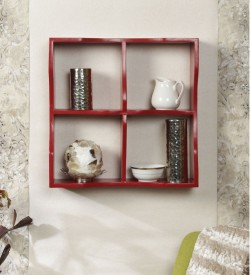 Onlineshoppee Four compartments Wooden Wall Shelf(Number of Shelves - 4, Red)