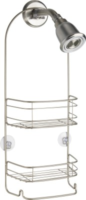Interdesign Rondo Bathroom Shower Caddy for Shampoo, Conditioner, Soap - Satin Steel Wall Shelf
