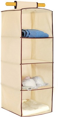 Pindia Fancy & Foldable Cream Hanging Storage Wardrobe Almirah Polyester Wall Shelf