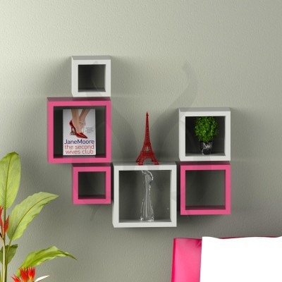 Decor Heart Combo of 6 Pink & white color MDF Wall Shelf