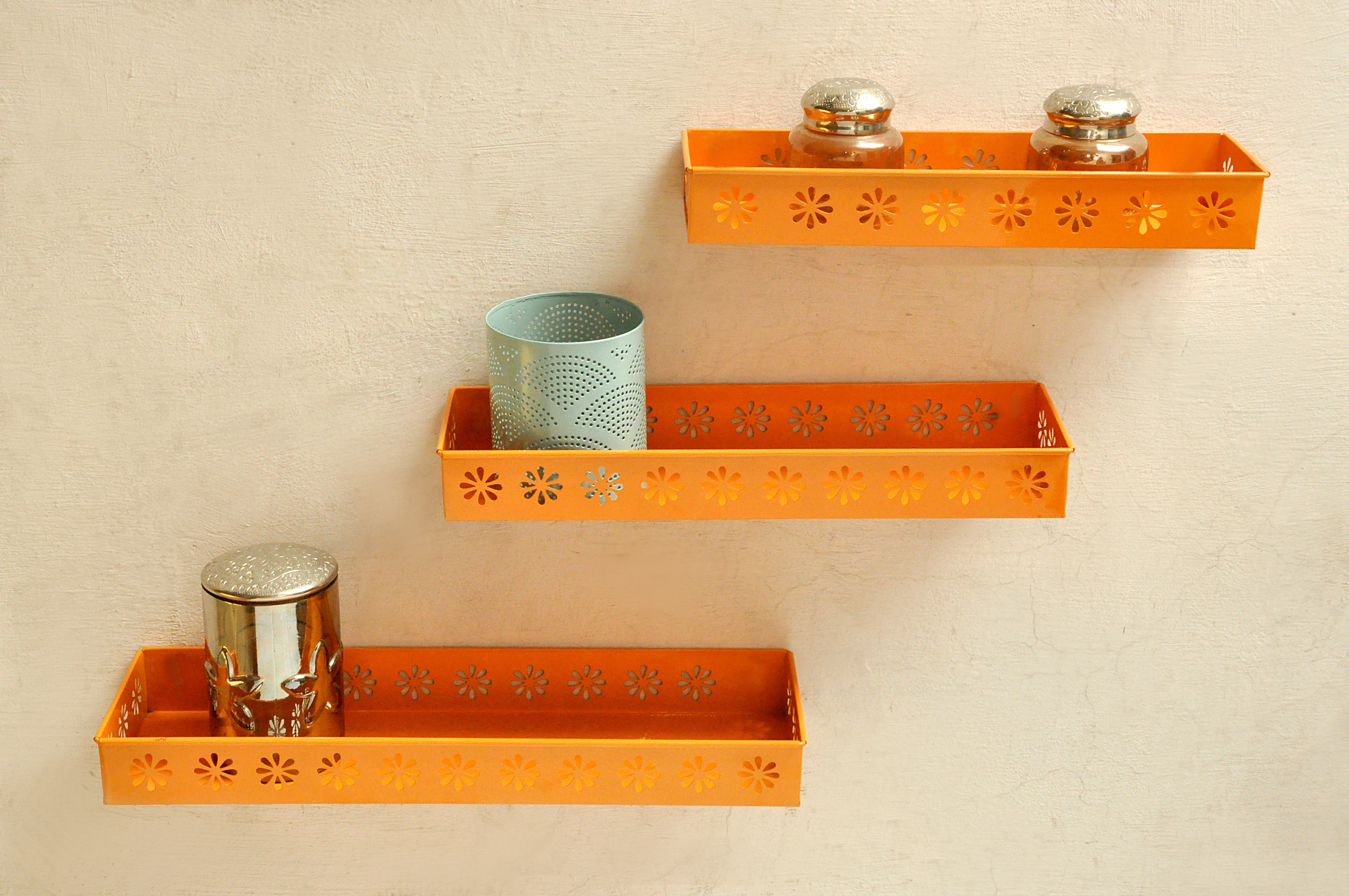 View Logam Metal Orange ( Set of Three) Iron Wall Shelf(Number of Shelves - 3, Orange) Furniture (Logam)