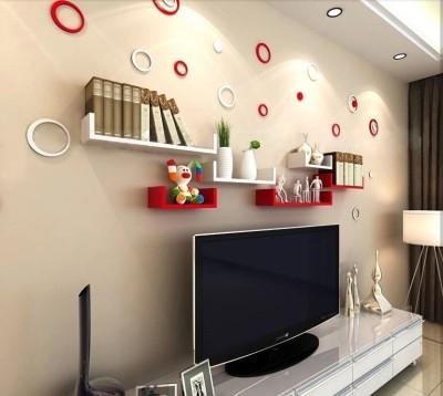 Ganeshaas GHWSDU002RW RednWhite Combo Wooden Wall Shelf